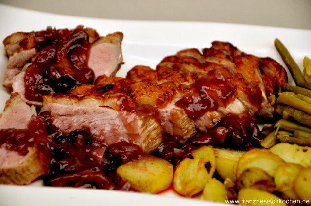 Magret de canard sauce au vin (Entenbrust in Rotweinsauce)