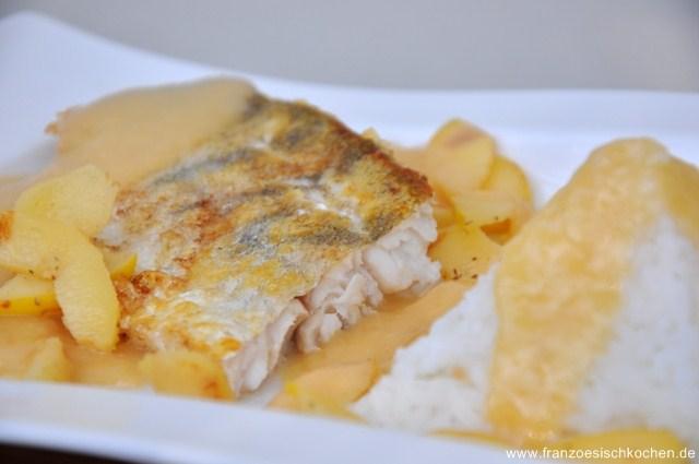 Sandre aux coings (Zander mit Quitte-Weisswein Sauce)