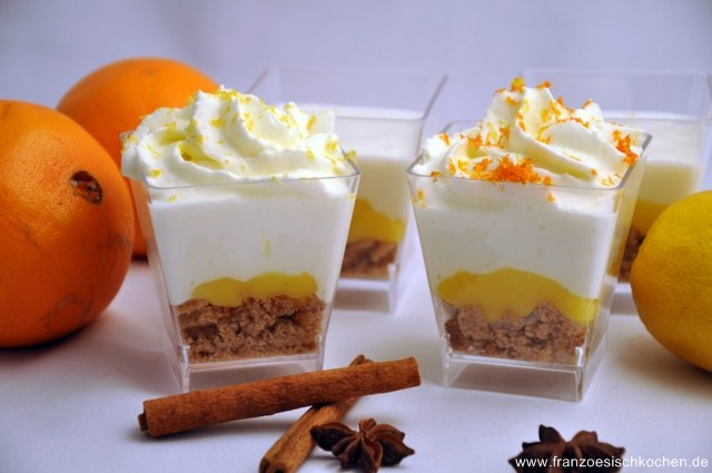 Verrines orange-citron au pain d'épices (Verrines mit Orange Curd, Zitronen Chantilly und Lebkuchen)