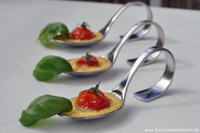 Rezept: Crèmes brûlées salées à la tomate (salzige Crèmes brûlées mit Tomaten)   www.franzoesischkochen.de