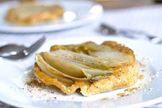 Rezept: Tatin dendive, noisette et miel. ( Tatin von Chicorée, Haselnuss und Honig)   www.franzoesischkochen.de