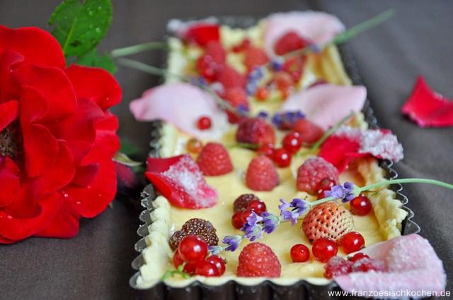Rezept: Tarte du jardin fruits et fleurs   www.franzoesischkochen.de