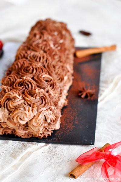 Rezept: Bûche de Noël chocolat et épices   www.franzoesischkochen.de
