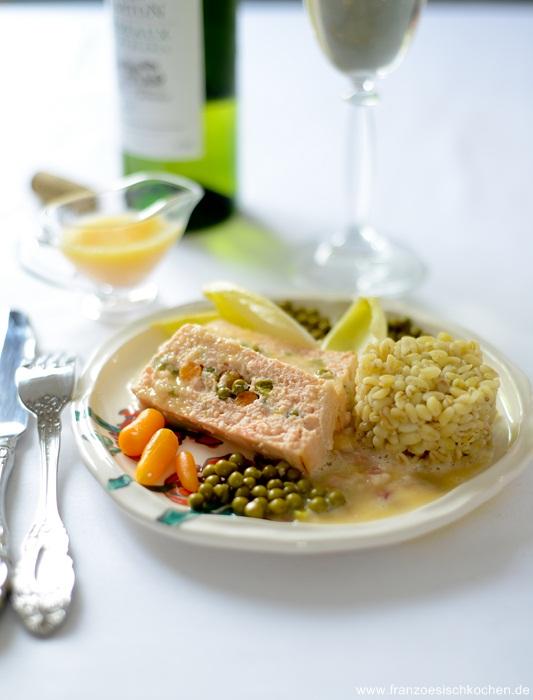 Rezept: Terrine de poisson sauce au beurre blanc, schnell und lecker (Fischterrine mit Weißwein Sauce)   www.franzoesischkochen.de