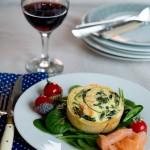 Quiche au saumon ou chèvre et épinards ( Quiche mit Lachs oder Ziegenkäse und Spinat )