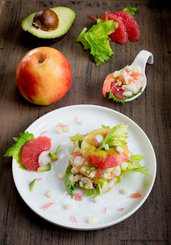 Rezept: Mille feuille de pommes, crevettes et pamplemousse ( Mille feuille von Äpfeln, Garnelen und Grapefruit )   www.franzoesischkochen.de