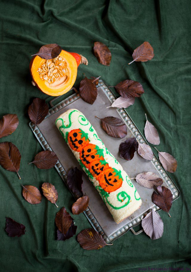 Halloween-Rezept: Schoko-Kürbis Rolle