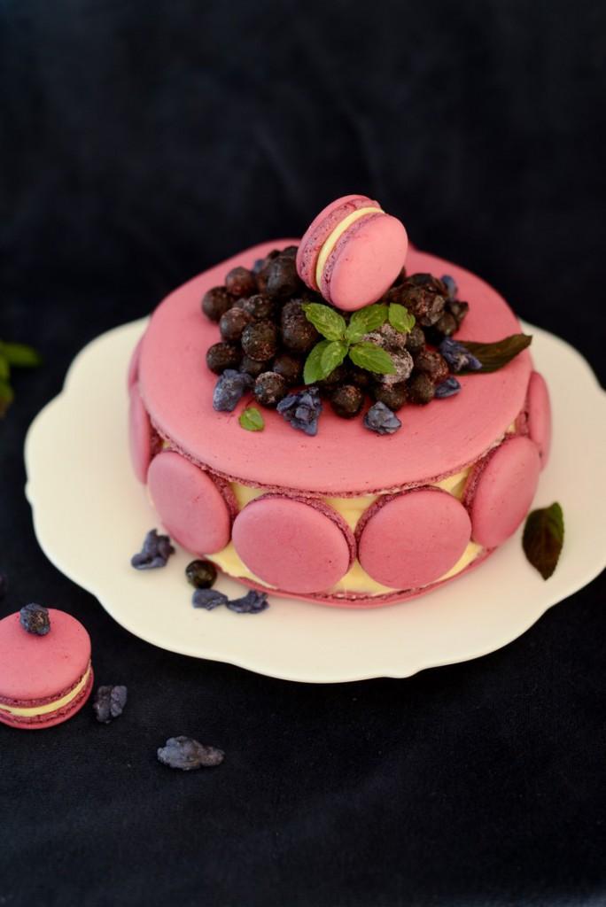 Gateau de Macarons Myrtilles et Violettes ( Macarons Kuchen mit Blaubeeren und Veilchen )