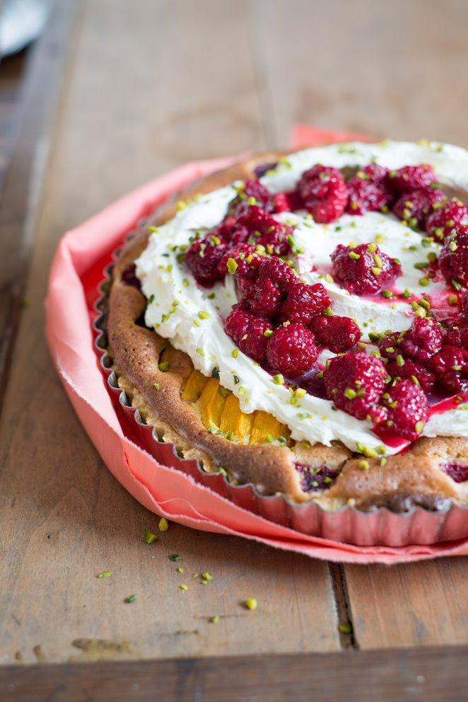 Tarte bourdaloue Pfirsich-Himbeeren