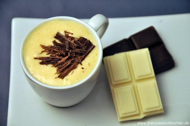 Mousses au chocolat blanc avec et sans oeufs (Weisse Schokoladen-Mousses mit und ohne Eier)