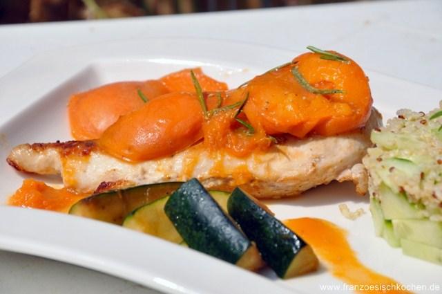 Suprême de dinde aux abricots (Hähnchenbrustfilets mit Aprikosen
