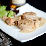 Médaillons de veau aux girolles et sauce au Calvados – Kalbsmedaillons mit Pfifferlinge und Calvados-Sauce