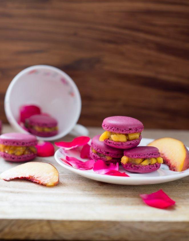 Pfirsich-Rosen-Macarons nicht zu süß!( Macarons Pêches-Rose)