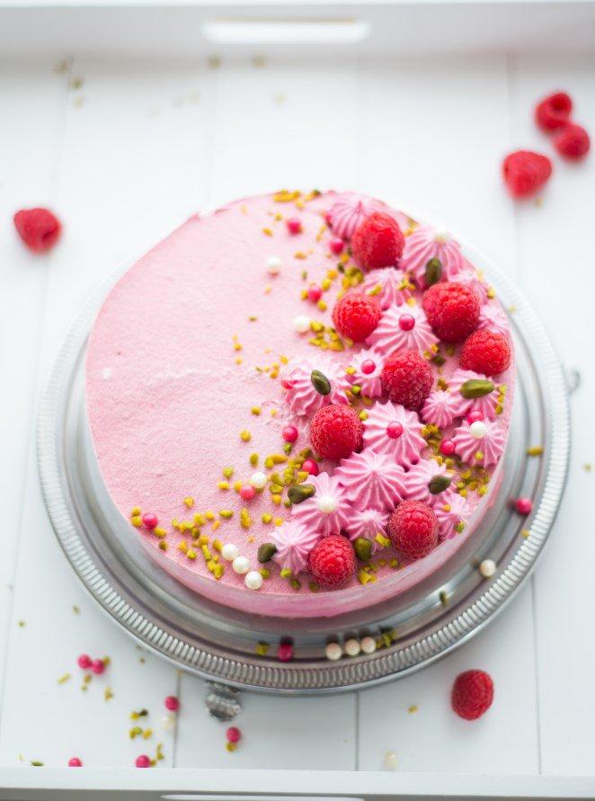 Himbeer-Pistazien-Torte (Entremet framboise-pistache)